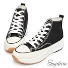 厚底鞋 經典增高休閒高筒帆布鞋-黑