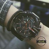 霸氣超大錶盤運動手錶男士韓版簡約女學生休閑石英錶  ~黑色地帶