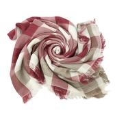 【COACH】羊毛混桑莫代爾巾圍巾披巾方巾禮盒(紅白格紋)