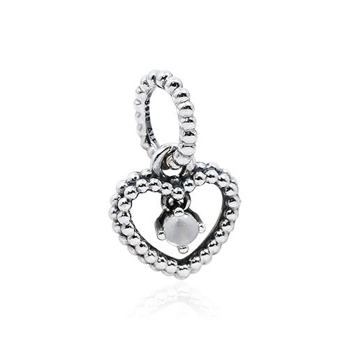 Pandora 潘朵拉 乳白色圓珠水晶心形 垂墜純銀墜飾 798854C04