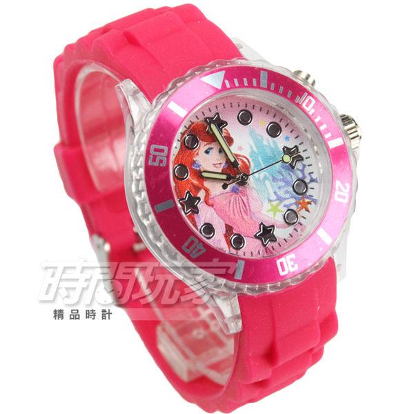 Disney 華特迪士尼 童話小美人魚卡通手錶 閃燈 兒童手錶 桃紅 時間玩家 DU7-3206小美
