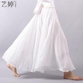 亞麻長裙 春夏棉麻文藝復古半身裙漢服亞麻高腰長裙大碼大擺裙裙子女-Ballet朵朵
