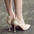春秋新款溫柔仙女鞋伴娘中跟少女高跟鞋小清新蝴蝶結細跟尖頭單鞋 小艾新品