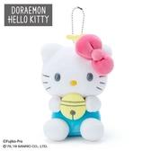 〔小禮堂〕Hello Kitty x 哆啦A夢 絨毛玩偶娃娃吊飾《粉白》掛飾.鑰匙圈 4901610-03732