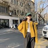 針織開衫黃色針織開衫女春秋寬鬆慵懶風復古日繫2021新款上衣毛衣外套外穿 韓國時尚