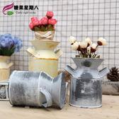 [超豐國際]鐵藝花器復古花桶花盆 酒柜裝飾品鐵桶鐵皮桶 創意1入
