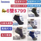 男用尺寸 船型厚底氣墊除臭襪 6雙$799 SGS雙認證 滅菌率98.8% 除臭率99%業界最好的除臭效果 iwawa