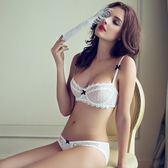 歐美夏季性感蕾絲超薄白色文胸透氣網紗 深V聚攏女士內衣套裝   mandyc衣間