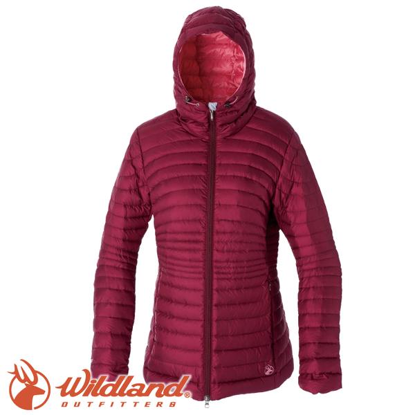 【Wildland 荒野 女款 700FP輕量時尚連帽羽絨外套《酒紅》】0A52111/連帽外套/羽絨衣