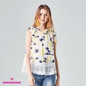 【SHOWCASE】夏日風情綁帶領椰子樹印花雪紡上衣(黃)