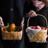 (交換禮物)野餐籃日式手工木片編織收納籃創意木片籃面包籃水果蔬菜籃子野餐藤編藍XW