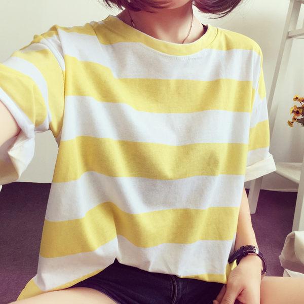 夏裝T恤 女學生休閑 條紋上衣