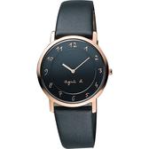 agnes b. 法國時尚藝術薄型石英女錶-黑x玫塊金框/34mm 7N00-0BH0K(BG4009P1)