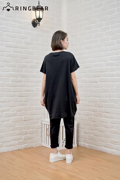 加大尺碼--簡約星星小鐵塔印圖舒適棉質親膚長版上衣(黑.藍XL-5L)-D282眼圈熊中大尺碼