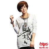 【BOBSON】女款貓頭鷹印圖寬版長袖上衣(33084-82)