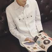 長袖襯衫-休閒潮流個性純色簡約男上衣3色73iq227【時尚巴黎】