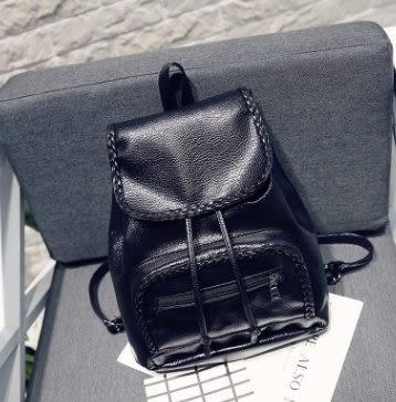 預購-韓版合成皮革編織時尚雙肩後背包