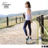 OB嚴選《KS0112》台灣品質.世界同布~壓線造型運動九分褲/瑜伽褲.3色--適 S~2L