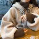 熱賣羊羔毛上衣 2021新款秋冬加絨加厚羊羔毛女士原宿港風假兩件上衣法系衛衣女裝 coco