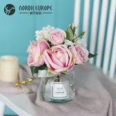 現代小清新假花仿真花擺件北歐裝飾花束客廳塑料玫瑰花餐桌花擺設 【PINKQ】