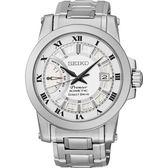 SEIKO 精工 Premier 時尚都會互動式人動電能鋼帶腕錶-白5D22-0AD0-S/SRG007J1