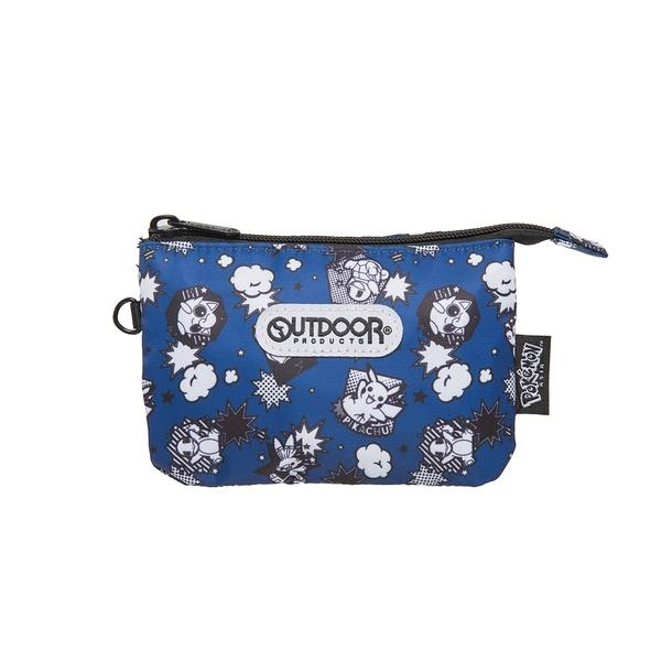 【OUTDOOR】Pokemon聯名款黑白漫畫三層零錢包-藍色 ODGO20A10NY