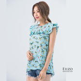 【EIIZO】清新印花小包袖雪紡上衣(綠)