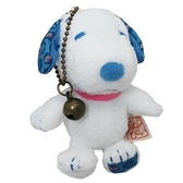 小禮堂 史努比 玩偶吊飾 絨毛 娃娃 吊飾 掛飾 鑰匙圈 (白 藍耳) 4548643-14260