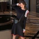 洋裝  秋冬淑女風氣質時尚撞色荷葉邊百搭打底針織高腰A字連衣裙