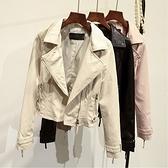 皮衣外套-翻領純色短款修身女夾克4色73on4【巴黎精品】