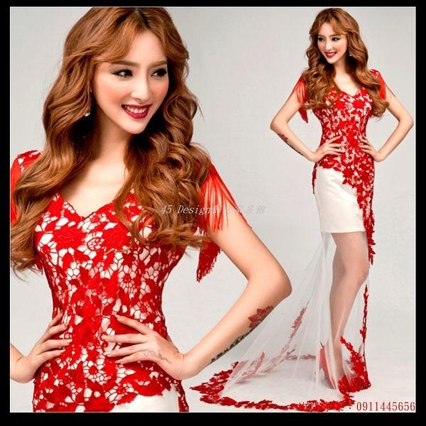 (45 Design) 訂做款式7天到貨  性感深v領紅色蕾絲韓式新娘前短後長透視魚尾拖尾婚紗禮服