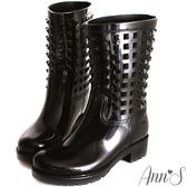 Ann'S個性百搭-糖果鉚釘防水雨靴 黑
