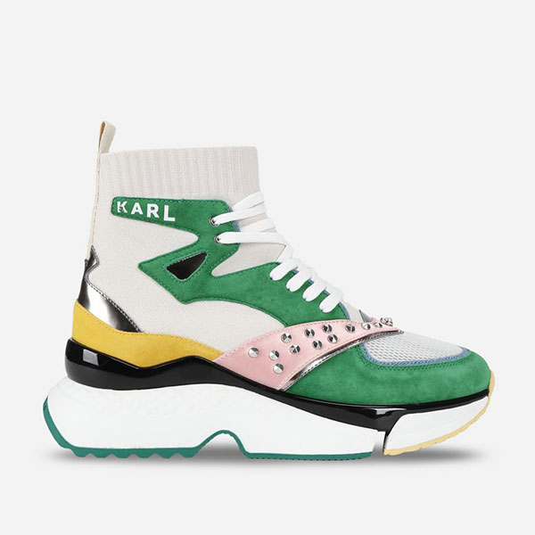 Karl Lagerfeld 卡爾 老佛爺女鞋 AVENTUR HI襪套老爹鞋-綠