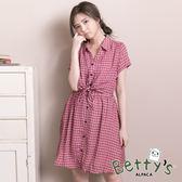 betty's貝蒂思 美式格紋腰間綁結雪紡洋裝(紅色)
