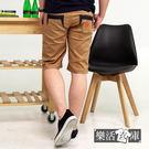 【8926】 韓系質感菱形皮標伸縮休閒短褲(卡其)● 樂活衣庫