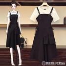 大碼女裝 夏季修身套裝 時尚短袖背帶連衣裙連身裙 兩件套 黑白搭 黑裙子 圖拉斯3C百貨
