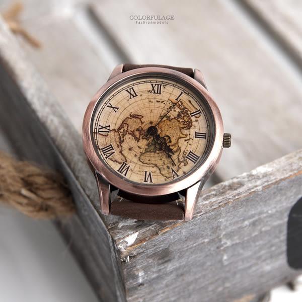 手錶 羅馬刻度世界地圖腕錶 柒彩年代【NE1956】單支