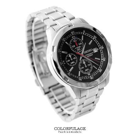 seiko手錶 精工黑面三眼計時腕錶 防水高達100米不銹鋼手錶 柒彩年代【NE1371】附贈禮盒+提袋