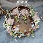 兒童頭飾森系花朵仙美皇冠發箍頭飾兒童彩色花環花童女童演出飾品 嬡孕哺