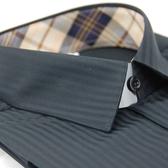 【金‧安德森】黑底暗紋經典格繞領窄版長袖襯衫