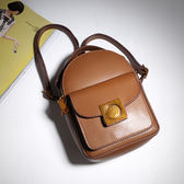 【O-ni O-ni】真皮新款韓版牛皮後背包女士純色双肩包JZL-6603-棕色