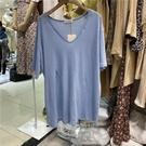 V領T恤 短袖t恤女ins潮2020夏季新款韓版寬松設計感開叉V領純色百搭上衣 曼慕衣櫃