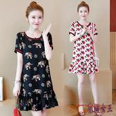 胖MM大碼魚尾裙短裙2019新款夏裝洋氣時髦減齡顯瘦微胖妹妹洋裝 QX14372 【花貓女王】