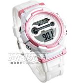 JAGA 捷卡 游泳休閒多功能 女錶 夜間冷光照明 運動電子錶 計時碼表 M1126-DG(白粉)