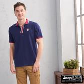【JEEP】簡約運動風休閒短袖POLO衫(深藍)