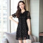 短袖洋裝 連身裙 碎花氣質系帶清新文藝仙女甜美雪紡花裙子-巴黎時尚