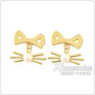 kate spade經典貓咪設計珍珠鑲飾穿式耳環(金)