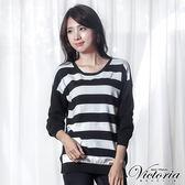 Victoria 前後二面可穿條紋長袖線衫-女-黑底白條