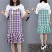 大尺碼XL-5XL休閒中長版連身裙24774夏季新大碼女裝胖MM格子拼接顯瘦連衣裙愛尚布衣