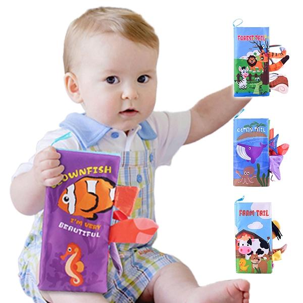 布書 可愛動物尾巴安撫玩具 學前教育 簡易英文童書-JoyBaby